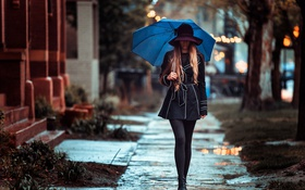 Картинка девушка, зонт, плащ
