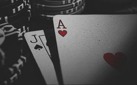 Картинка Игра, Карты, Пики, Black Jack, Черви, Фишки, Туз
