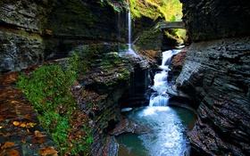 Обои река, мост, скалы, ущелье, водопад