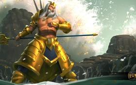 Обои море, вода, скалы, трезубец, борода, art, Heroes of Newerth