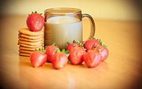 Обои клубника, печенье, молоко, чашка, еда, боке