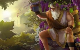 Обои вино, старик, борода, Heroes of Newerth, Drunken Master, Dionysus