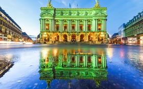 Обои небо, отражение, Франция, Париж, площадь, опера