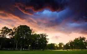 Картинка парк, вечер, фонари, туча