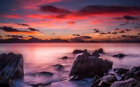 Обои море, пейзаж, закат, тропики, камни
