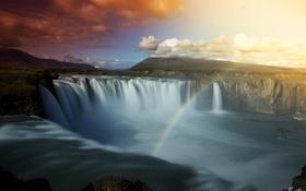 Обои водопад, радуга, небо