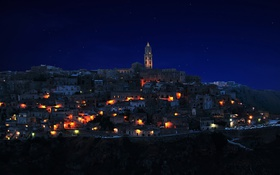 Обои Sassi di Matera, italy, night, lights, city