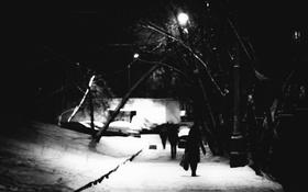 Обои зима, снег, ночь, прохожие