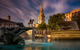Обои небо, облака, Англия, Лондон, дома, памятник, фонтан