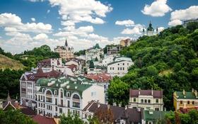 Картинка облака, небо, Украина, Киев, вид на город, Замок Ричарда, Андреевская церковь