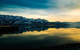Обои горы, природа, пирс, панорама, берег, lake, sunset