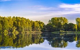 Обои небо, облака, деревья, озеро, отражение, зеркало, мужчина