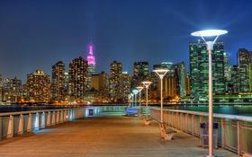 Обои Эмпайр-стейт-билдинг, лампы, Нью-Йорк, мол, огни, Соединенные Штаты, от портального парк