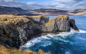 Обои камни, скалы, небо, облака, горы, море