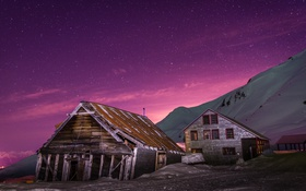 Обои night, alaska, mine, cabin