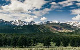 Обои небо, облака, деревья, горы, Колорадо, сосны, Скалистые горы