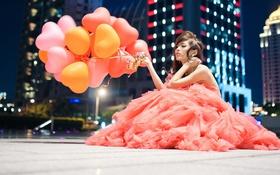 Картинка девушка, город, шары