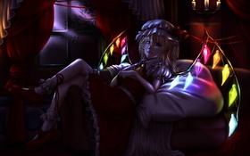 Обои девушка, ночь, крылья, аниме, арт, кристаллы, чепчик