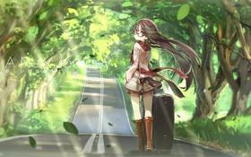 Картинка дорога, листья, девушка, деревья, ветер, арт, очки