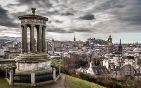 Картинка небо, тучи, дома, Шотландия, холм, панорама, Эдинбург