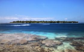 Обои море, волны, облака, деревья, остров, риф, голубое небо
