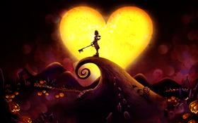 Картинка сердце, мальчик, ключ, тыквы, сердечко, sora, kingdom hearts