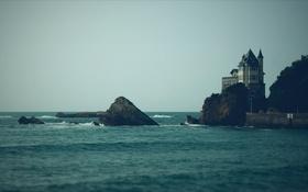 Обои море, вода, здание, пристань