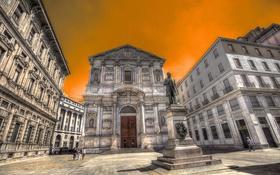 Обои небо, дома, площадь, Италия, памятник, Милан