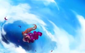 Обои небо, девушка, облака, аниме, перья, арт, mahou shoujo madoka magica