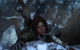 Обои холод, взгляд, снег, скала, игра, Lara Croft, ледоруб