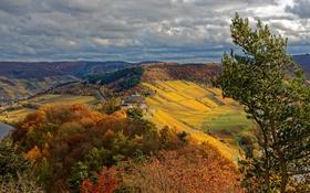 Картинка осень, облака, деревья, горы, поля, дома, Германия