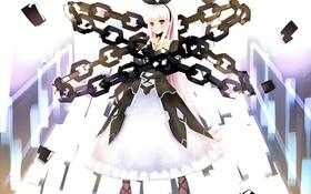 Картинка девушка, крест, аниме, арт, цепь, бант, tsukimi