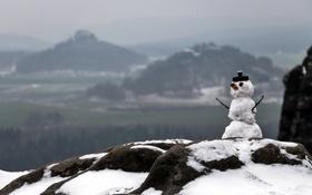 Обои зима, природа, снеговик