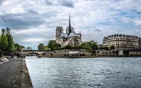Картинка пейзаж, река, Франция, Париж, Сена, собор парижской богоматери, остров Сите
