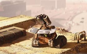 Обои день, солнечные батареи, WALL-E, Waste Allocatiod Load Lifter Eaath class
