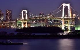 Обои ночь, мост, город, река, освещение, Токио