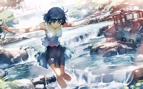 Картинка вода, ручей, аниме, арт, девочка