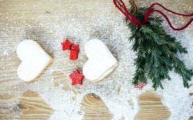 Обои снег, праздник, елка, печенье, Рождество, сердечки, сладости