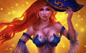 Обои девушка, шляпа, рыжая, lol, League of Legends, Bounty Hunter, Miss Fortune