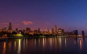 Обои ночь, город, огни, Чикаго, США, Иллиноис, панорамма