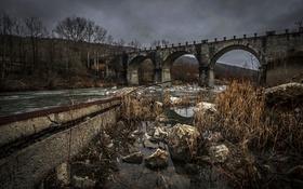 Картинка ночь, мост, река