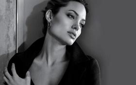 Картинка Angelina Jolie, girl, black and white