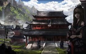 Картинка девушка, пейзаж, горы, азия, арт, храм, водопады