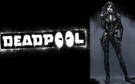 Обои пистолеты, арт, костюм, мутант, Marvel Comics, Domino, Нина Турман