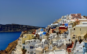 Обои остров, склон, Греция, дома