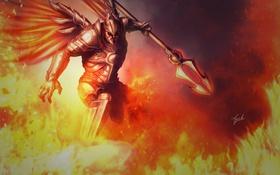 Обои оружие, огонь, крылья, арт, Diablo, доспех, Imperius