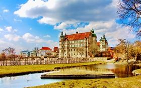 Картинка небо, облака, деревья, пруд, замок, дома, Германия