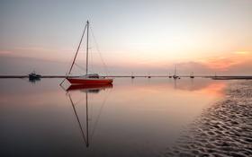 Картинка море, небо, лодка, отлив, гавань