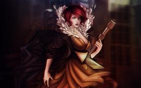 Обои взгляд, девушка, оружие, платье, декольте, Red, art