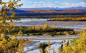 Обои осень, горы, река, долина, Аляска, США
